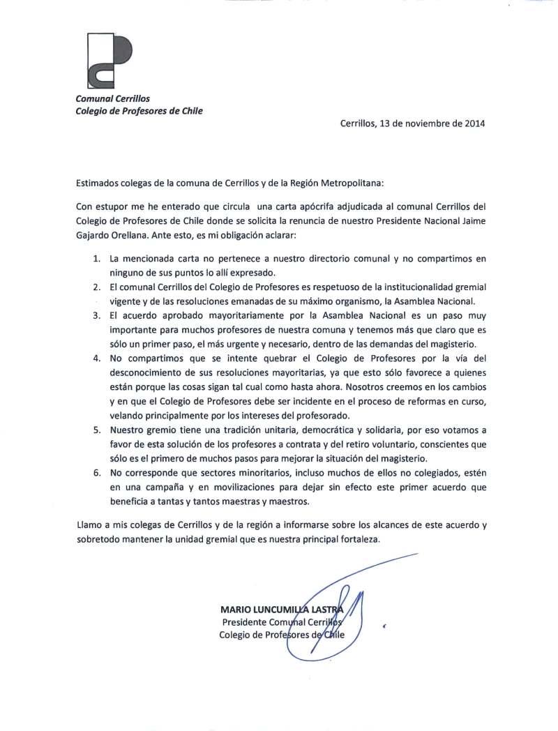 COMUNICADO COMUNAL CERRILLOS
