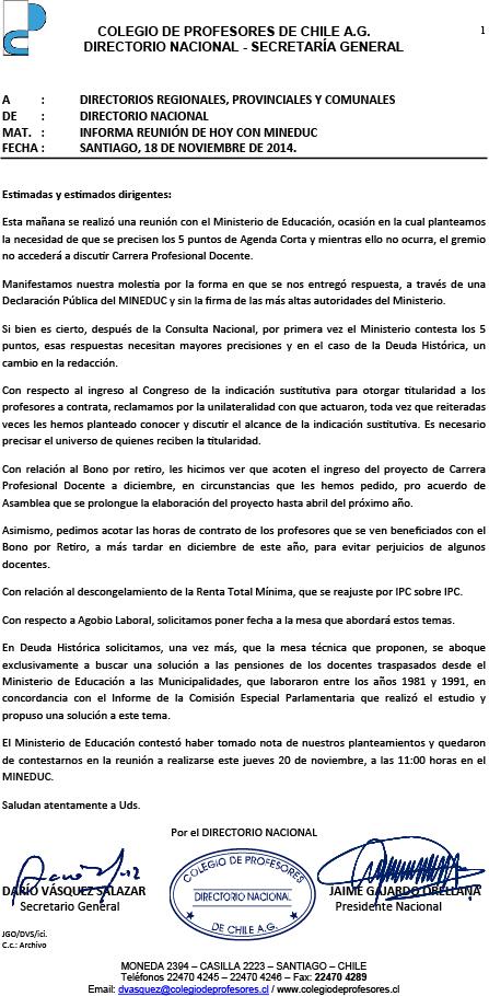 CIRCULAR INFORMA ULTIMA REUNIÓN CON MINEDUC