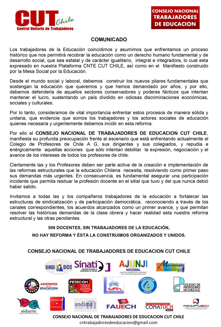 COMUNICADO DE LOS TRABAJADORES DE LA EDUCACIÓN