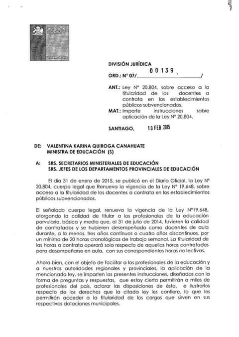 INSTRUCTIVO MINEDUC SOBRE LEY DE TITULARIDAD DOCENTE