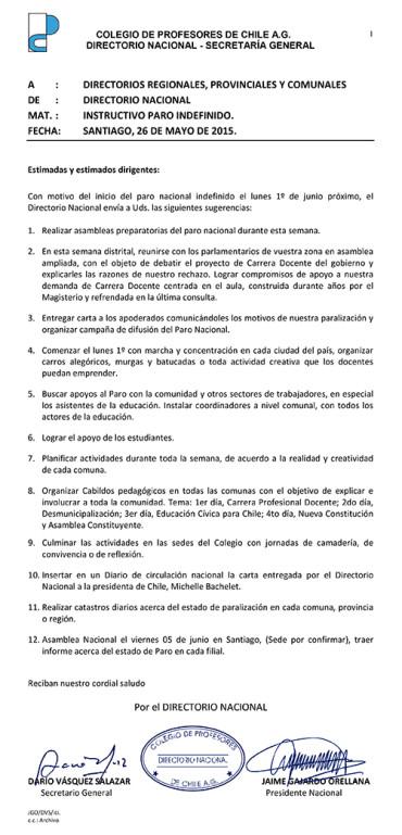 INSTRUCTIVO DEL DIRECTORIO NACIONAL SOBRE PARO INDEFINIDO