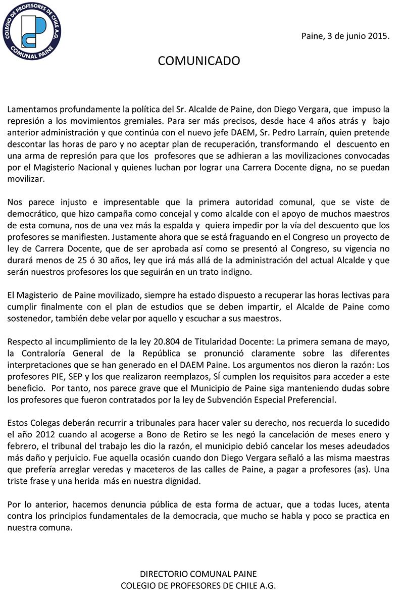 PROFESORES DE PAINE DENUNCIAN AMEDRENTAMIENTO DEL ALCALDE