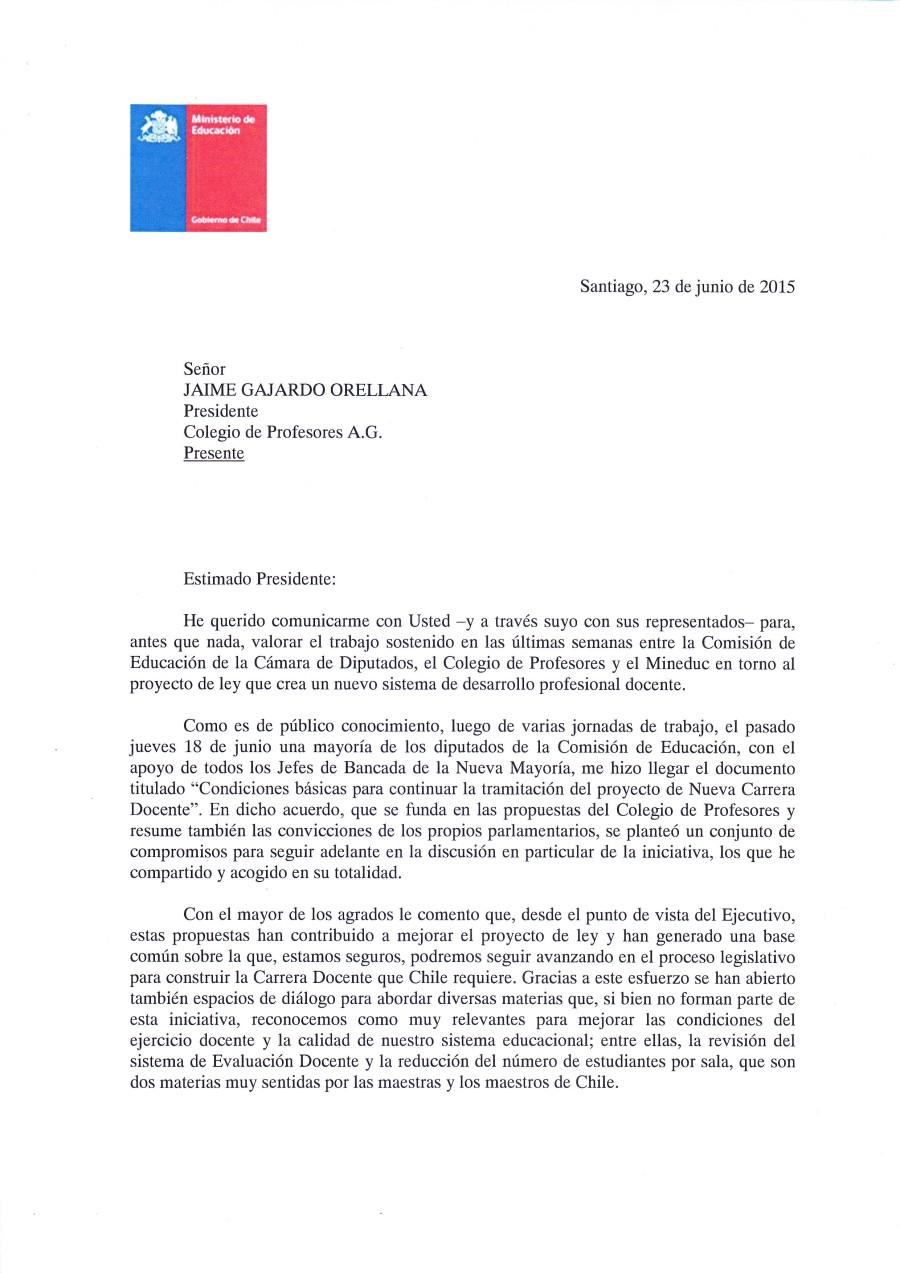 MINISTRO DE EDUCACIÓN ENVÍA CARTA AL MAGISTERIO