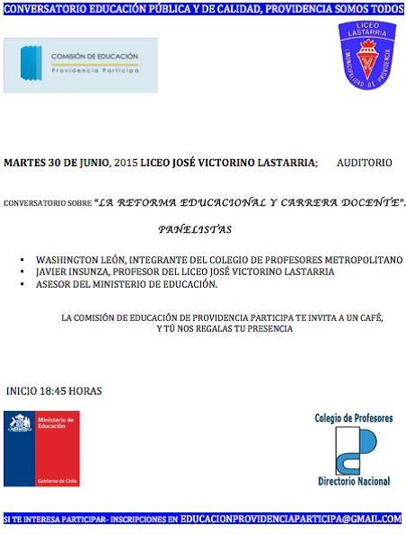 CONVERSATORIO EDUCACIÓN PÚBLICA Y DE CALIDAD EN PROVIDENCIA