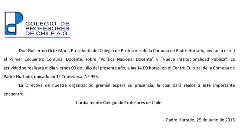 ENCUENTRO COMUNAL DOCENTE EN PADRE HURTADO