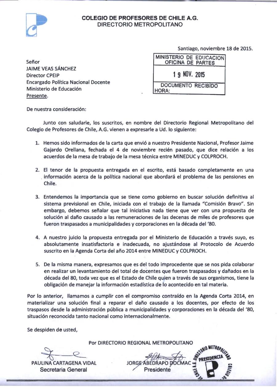 CARTA DE RECHAZO A RESPUESTA DEL DIRECTOR DE CPEIP