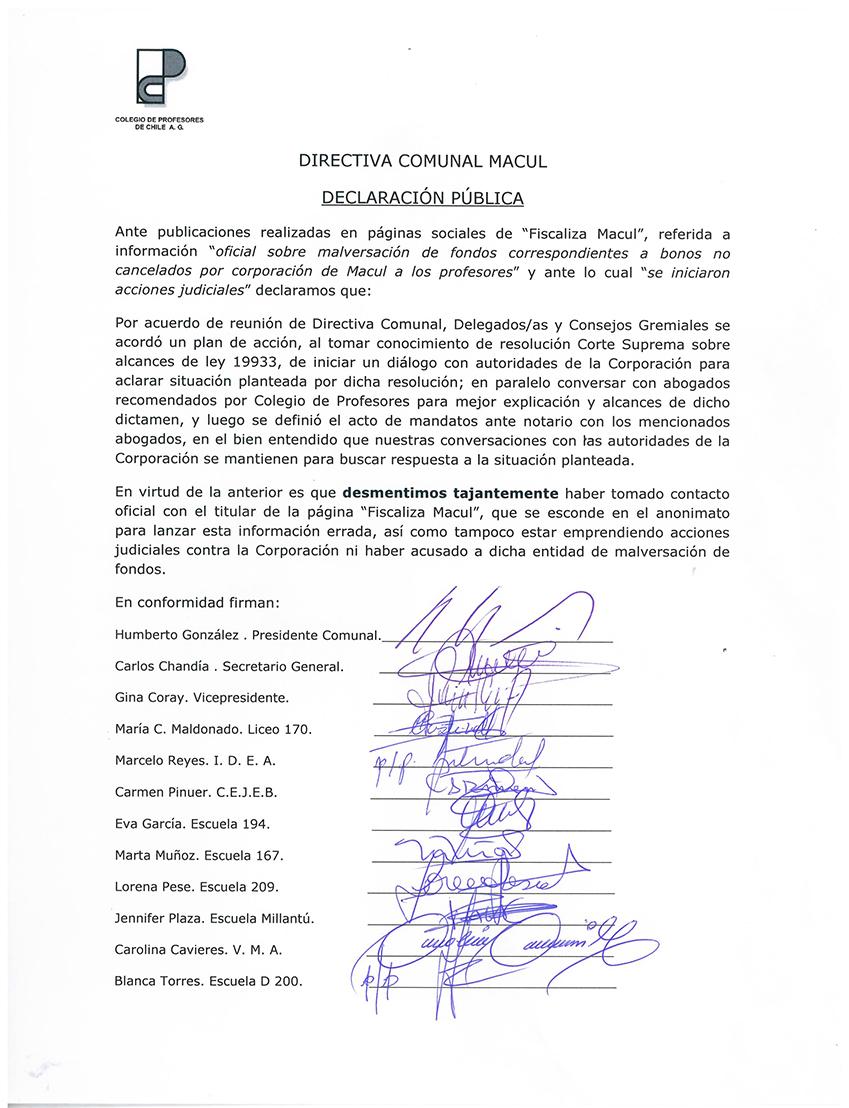 DECLARACIÓN PÚBLICA DEL DIRECTORIO Y DELEGADOS, COMUNAL MACUL DEL COLEGIO DE PROFESORES DE CHILE.