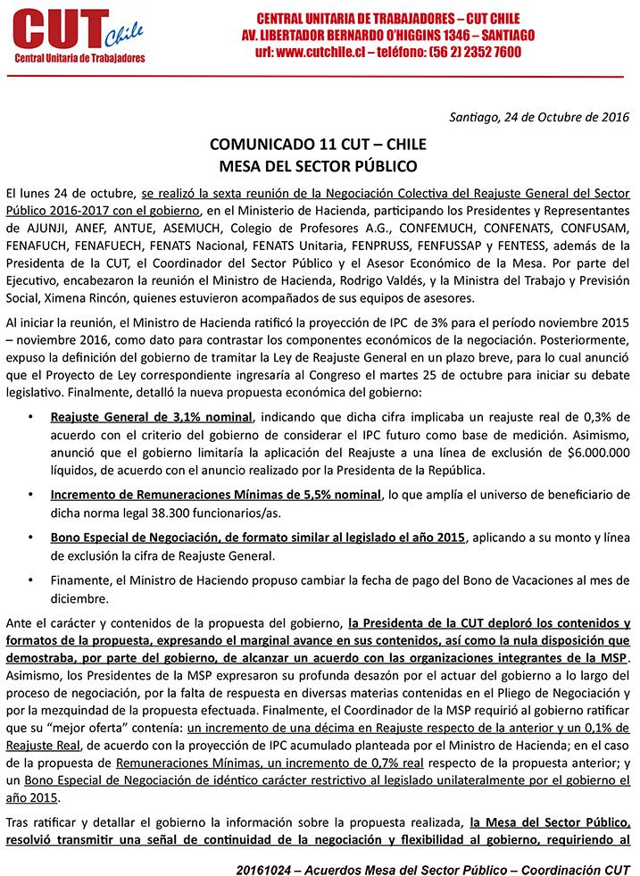 COMUNICADO Nº 11 MESA SECTOR PÚBLICO