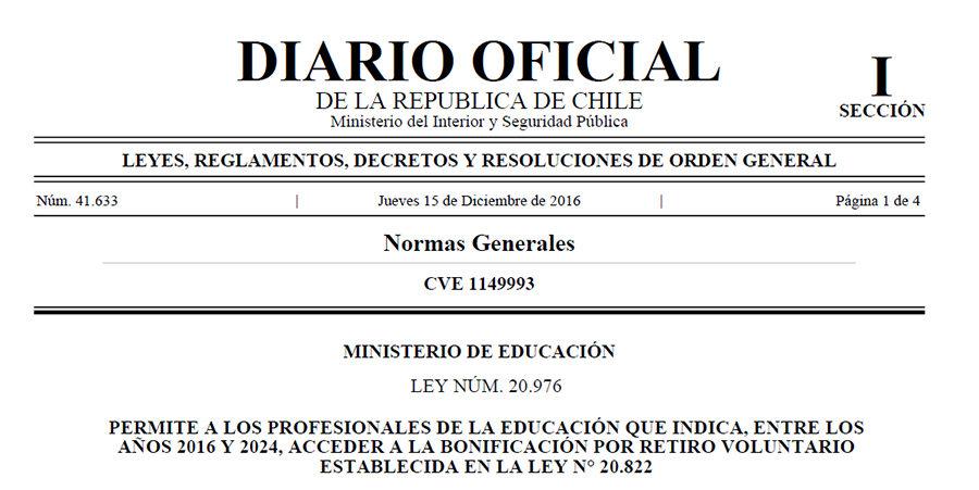 PUBLICADA EN EL DIARIO OFICIAL LEY QUE EXTIENDE BONO DE INCENTIVO AL RETIRO HASTA EL 2024