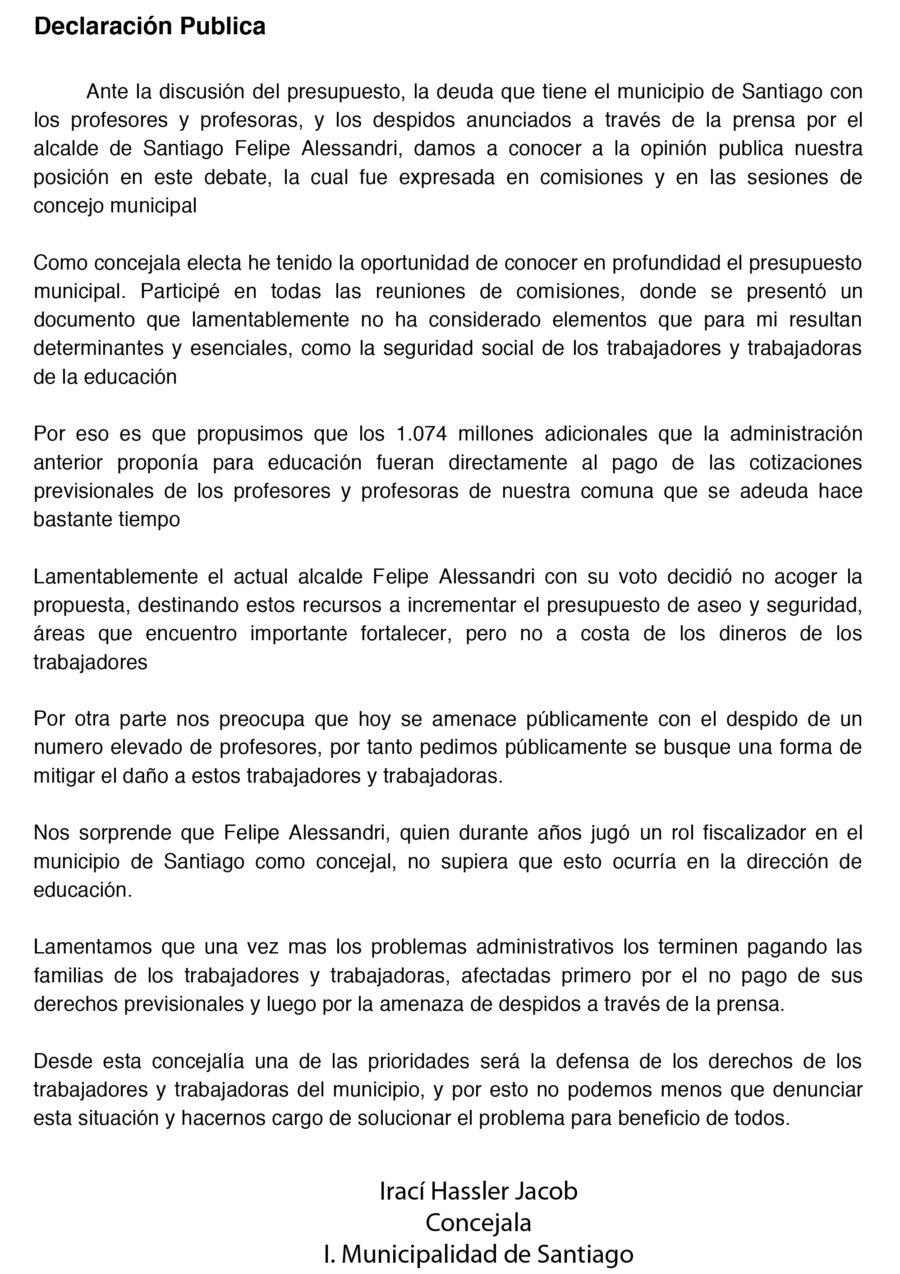SOBRE DESPIDOS DE PROFESORES: DECLARACIÓN PUBLICA CONCEJALA DE SANTIAGO IRACÍ HASSLER