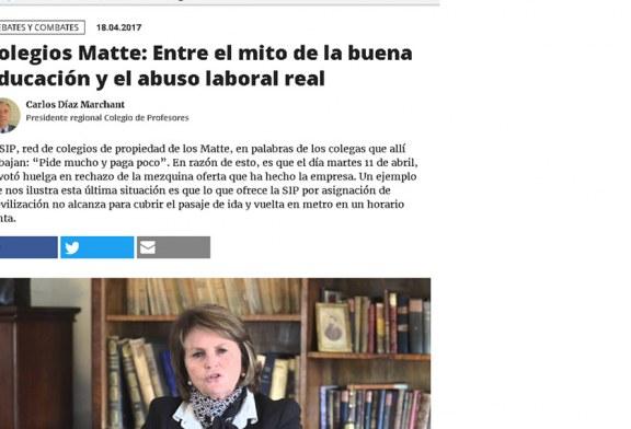 'El Desconcierto' publica columna sobre conflicto laboral en los colegios Matte