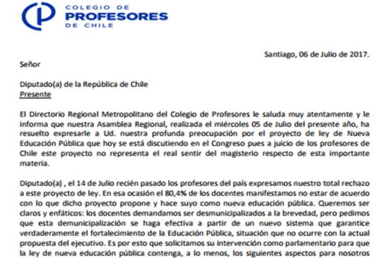 Regional Metropolitano se propone llenar de Cartas y mails a parlamentarios