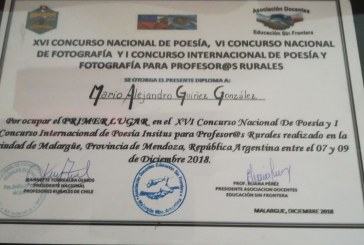 Colega poeta es galardonado en Argentina