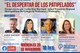 Carlos Díaz Marchant lanzará ensayo sobre historia del movimiento gremial docente con presencia de Jorge Baradit