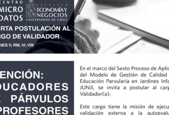 Postulaciones para ser validador(a) externo en proyecto JUNJI